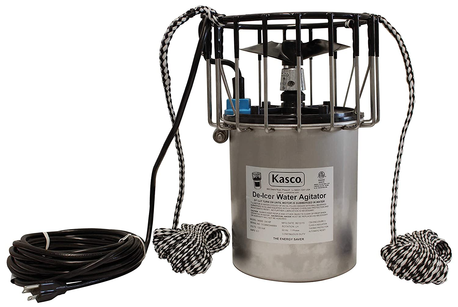 Kasco Marine Inc. 3400D050 50 Foot Powercord Marine De-Icer (120V Single Phase, 60Hz, 50' Cord, 3400D 3/4 HP)