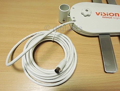 Vision Plus Image 420 UHF - Antena de TV Digital para caravanas, autocaravanas, Barcos, Color Blanco