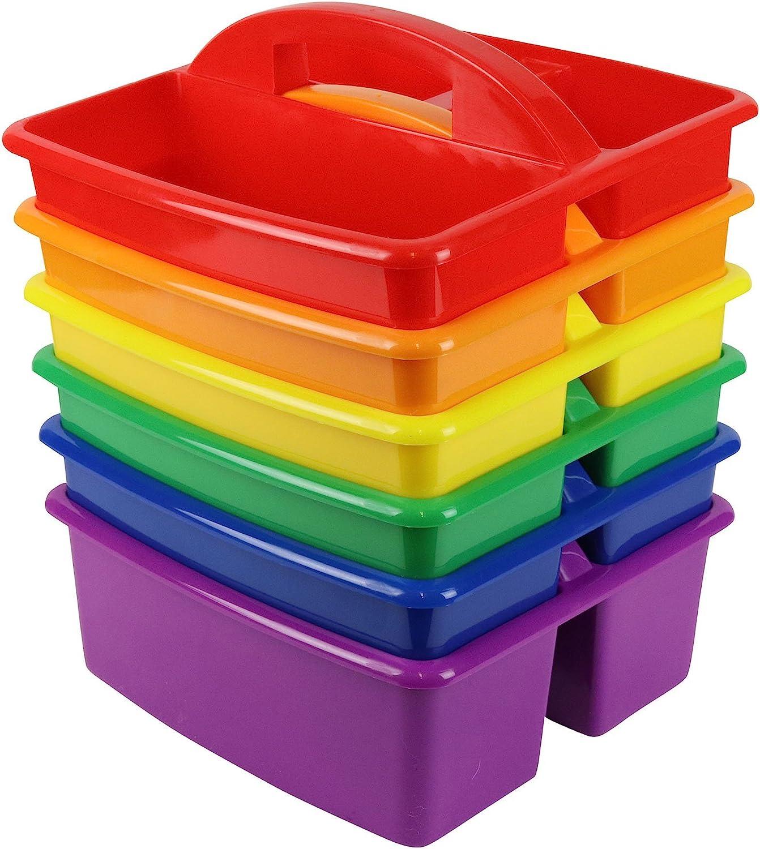 YUKIDS Classroom Caddy Organizer for School Supplies, Set of 6 Rainbow Colors,, Storage Bins With Handle For School Kindergarten Art Teachers