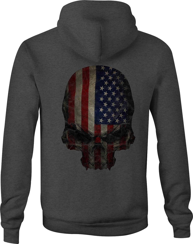 Zip Up Hoodie Distressed American Flag Skull Tactical