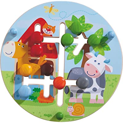 HABA Motor Skills Board On the Farm - Double Sided Wooden Color and Shape Recognition Fun Ages 1 +: Toys & Games