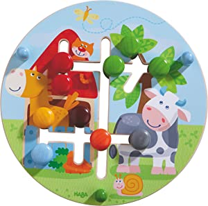 HABA Motor Skills Board On the Farm - Double Sided Wooden Color and Shape Recognition Fun Ages 1 +