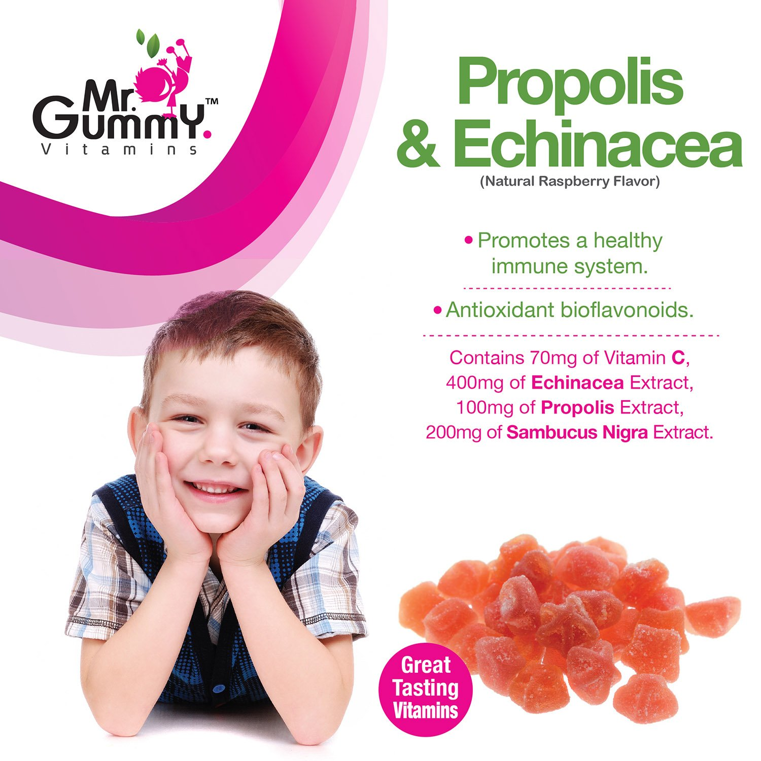 Mr Gummy Vitamins Propolis Echincea Supplement Natural Raspberry Sambucus, Elderberry, Propolis Extract, Vitamin C Healthy Immune Support System 150 Gummies, 75-Day Supply Kids Vitamins