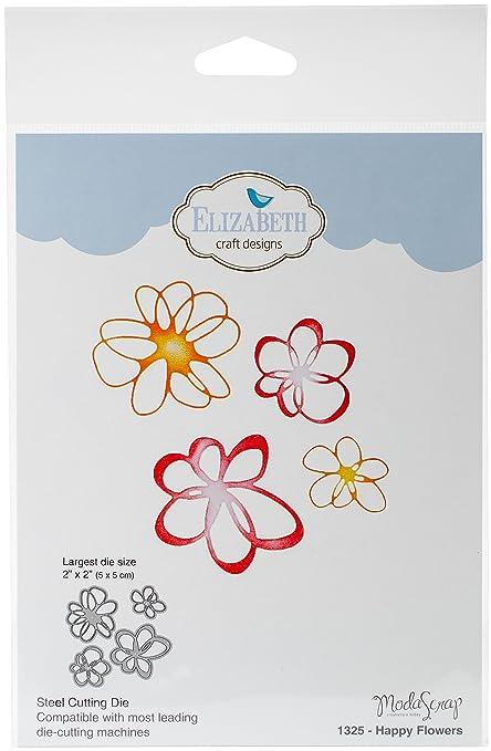 Elizabeth Craft Designs 1325 Metal Die Happy Flowers Largest 2 X2