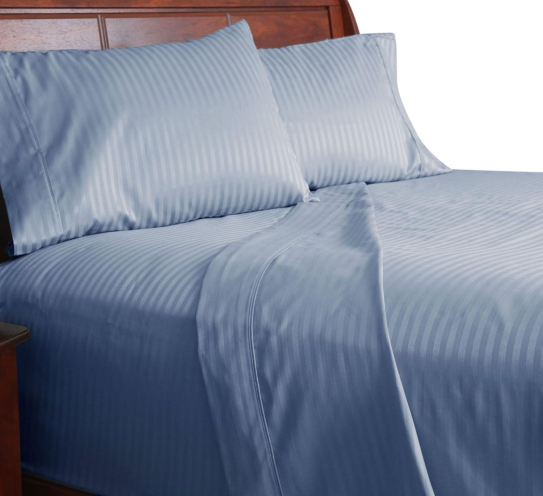 Lavish Home 300 Thread Count Cotton Sateen Sheet Set, Twin X-Large, Blue