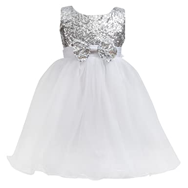 bb7035238b94c Merry Day Flower Baby Girl Sequin Dress - Kids Princess Pageant Party Wedding  Dresses Silver 2