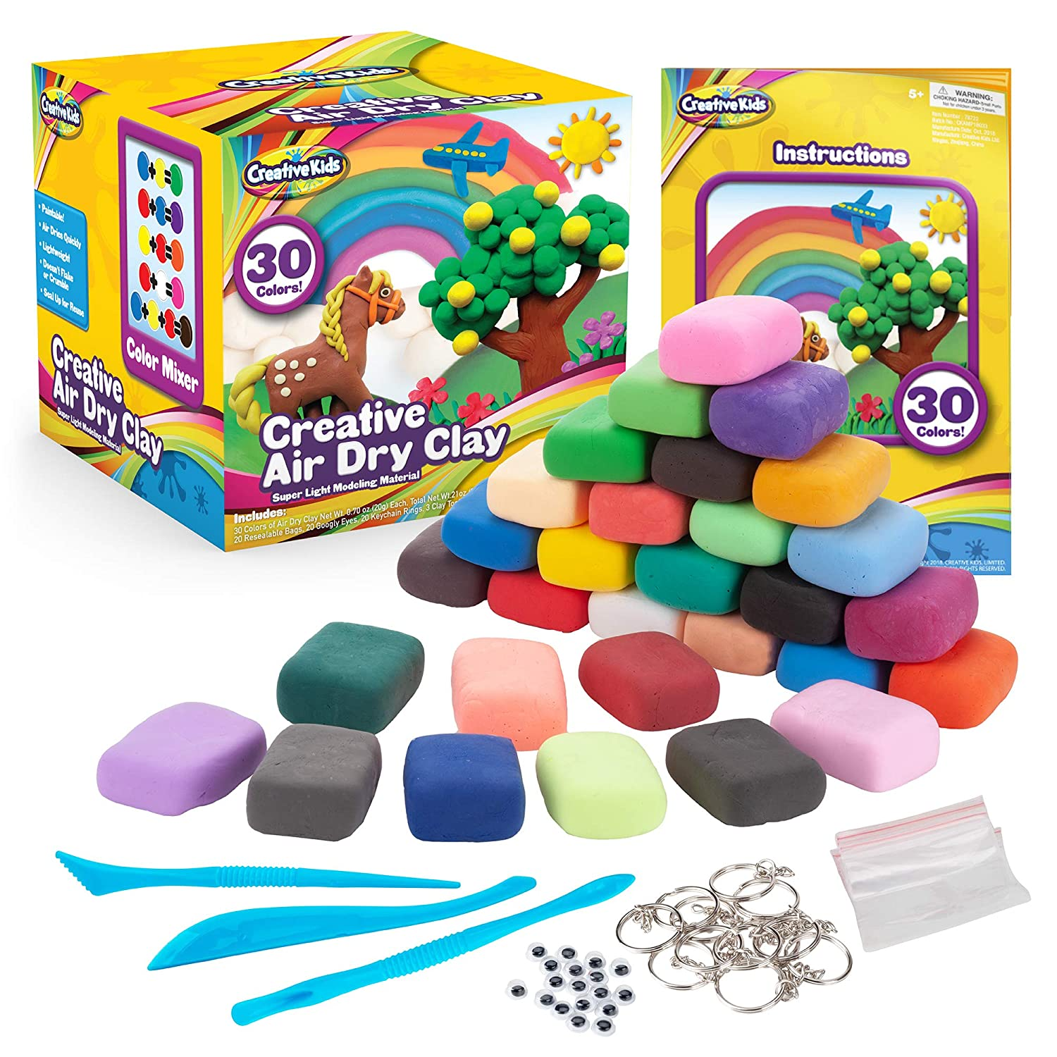 58aa2b253 Creative Kids Air Dry Clay Modeling Crafts Kit For Children - Super Light  Nontoxic - 30 Vibrant Colors & 3 Clay Tools - STEM Educational DIY Molding  Set ...