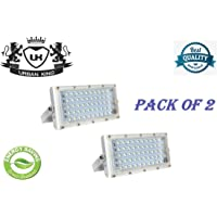 URBAN KING® 50 Watt 220-240V Waterproof Landscape IP65 Perfect Power LED Flood Light (White) - Pack of 2