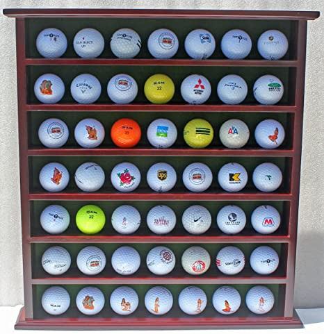 Superbe 49 Golf Ball Display Case Cabinet Rack, No Door, Mahogany Finish GB20