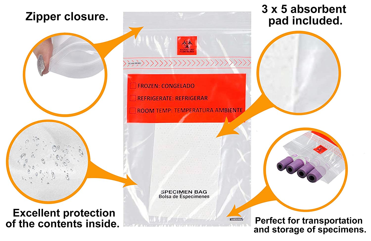 APQ Pack of 100 Specimen Bags 6 x 9 Absorbent Pad Plastic Bags 1.75 mil for Healthcare Needs Low Density polyethylene Printed Bags 6x9 Removable Biohazard Symbol. Great for clinics and Hospitals
