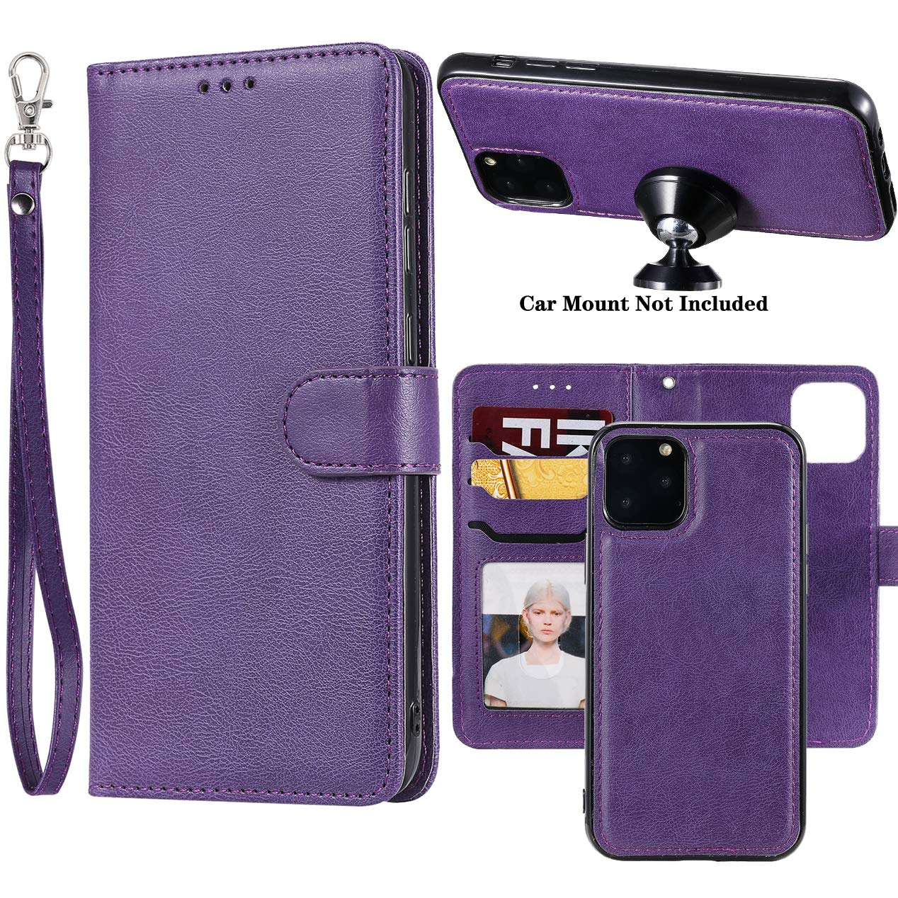 iPhone 11 Pro Max 2019 6.5 Case, Ranyi Detachable Wallet Case [Magnetic Cover Fit Car Mount] Credit Card Holder Leather Flip Folio Wallet Case for Apple 2019 6.5 Inch iPhone 11 Pro Max (Purple) by Ranyi