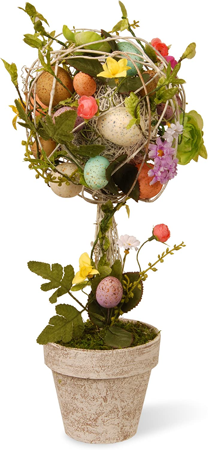 Twigs and Pastel Eggs National Tree 17 Inch Easter Topiary with Mixed Flowers GAE30-17TEF