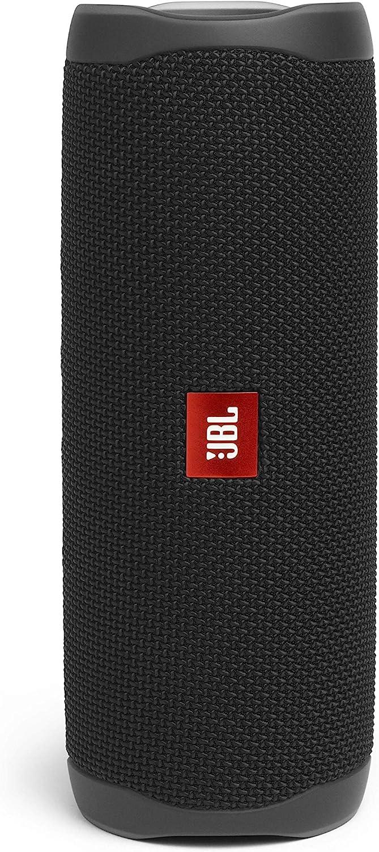 JBL Flip 5 - Altavoz inalámbrico portátil con Bluetooth, Resistente al agua (IPX7), JBL PartyBoost, hasta 12h de reproducción con sonido de calidad, negro