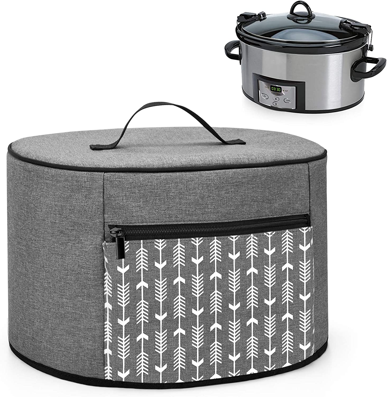 YARWO Slow Cooker Dust Cover Compatible with Crock Pot and Hamilton Beach 6-8 qt Slow Cooker, Dust Free Cover with Zipper Pocket and Wipe Clean Liner, Gray with Arrow