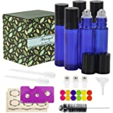 Glass Roller Bottles - 10ml, 6 Pack, Cobalt blue by Mavogel, Stainless Steel Roller Balls, Essential Oil Opener, Bottle Brush, Droppers, Funnel, and Labels Included