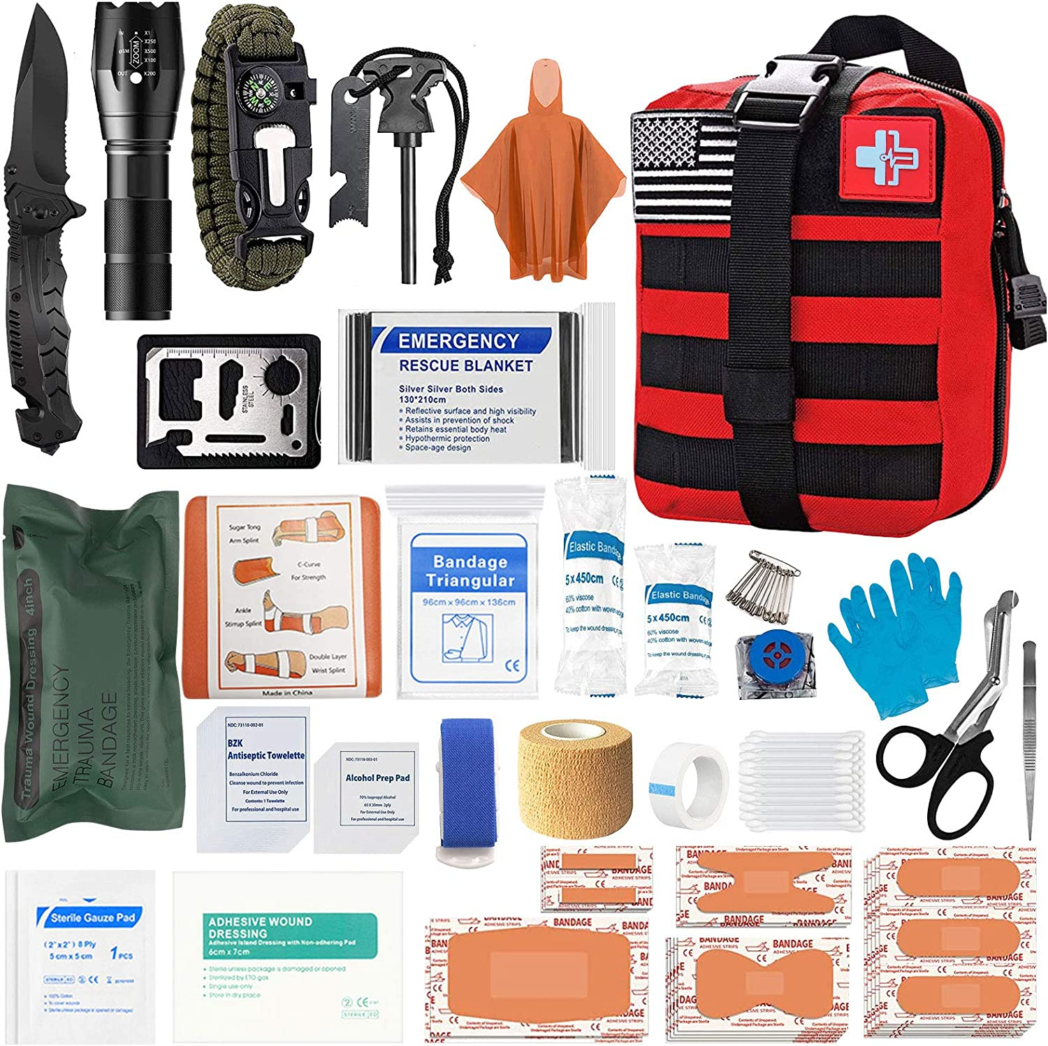[2021 Upgrade] First Aid Kit Medical Reinforcement Type Outdoor Tactical Gear Set Trauma Bandage Hiking Safety Set for Boat Car (RED)
