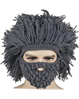 Kafeimali Men's Barbarian Vagabond Beanie Original Foldaway Beard Hats Halloween Caps