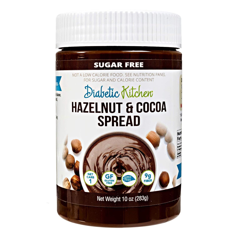 Diabetic Kitchen Sugar Free Hazelnut Cocoa Spread - Low Carb Chocolate Dessert Spread - Keto Treats & Snacks w/ 1 Net Carb & 9g Fiber
