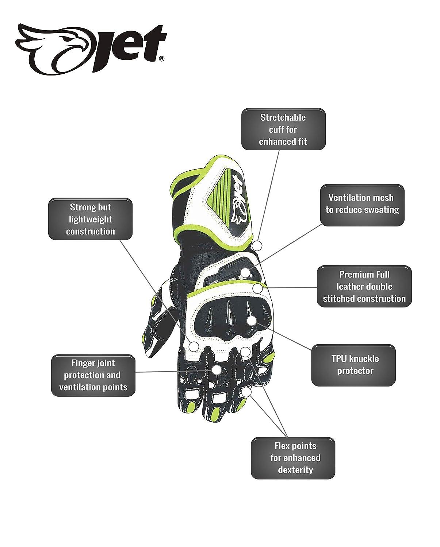 JET Motorcycle Motorbike Gloves Premium Full Leather Gauntlet Race Hard Knuckle Gloves 2XL, Green