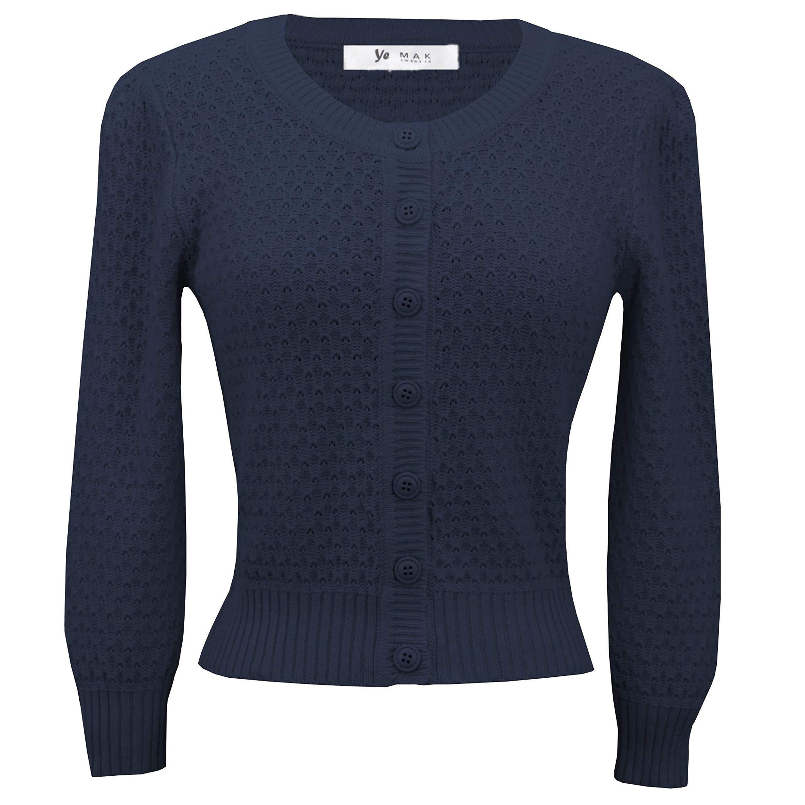 YEMAK Cute Pattern Cropped Daily Cardigan Sweater Vintage Inspired Pinup MK3514-NAV-M