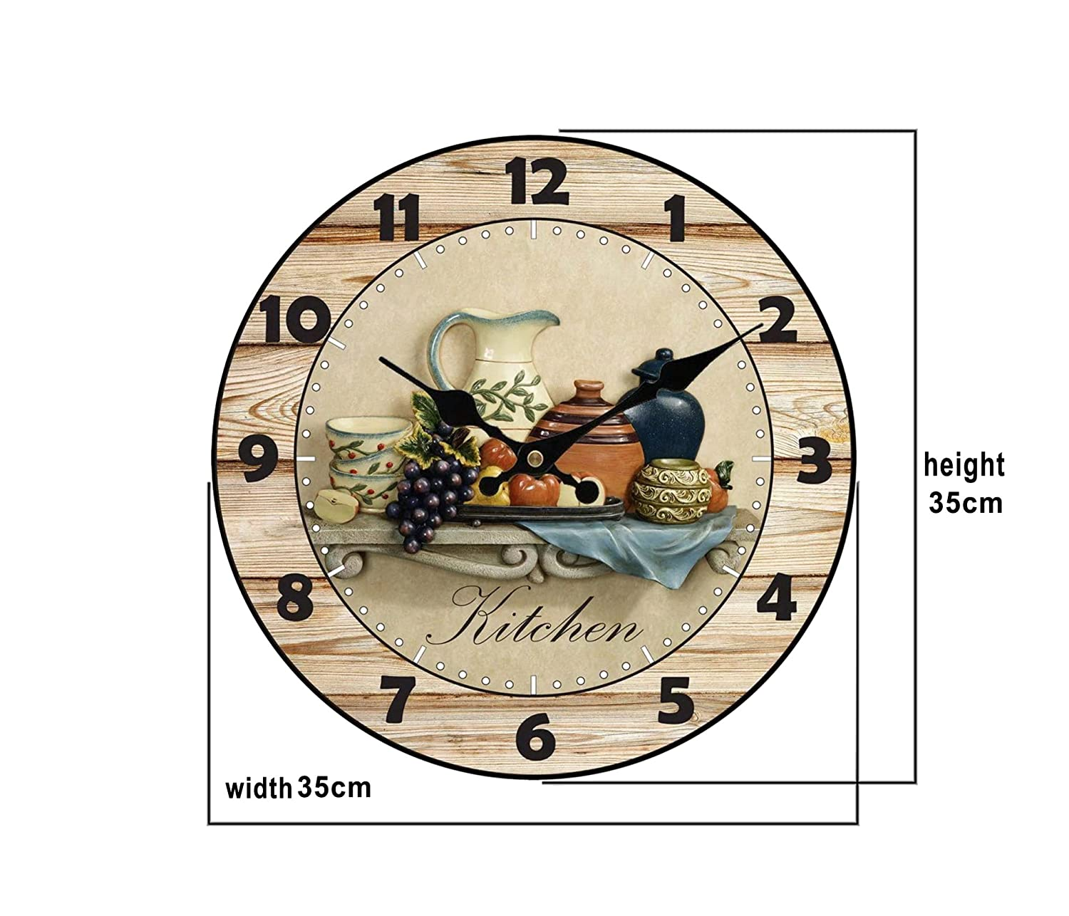 Amazon.com: Upuptop Modern Home Decor Quiet Sweep Movement Kitchen Round Wood Wall Clock Fruit Ceramics 14inch: Home & Kitchen