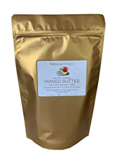 Mango Butter 16 oz (1 lb ) Natural Unrefined Pure 100% Raw , Moisturizing, Scent-free, Hexane-free Premium Grade for Soft Supple Skin and Healthy Hair , Nourishing & Healing Care & DIY- Made in USA