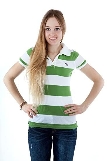 4f019bdef479dd Abercrombie & Fitch Women polo Shirt striped 10041115, size:XS, color:white