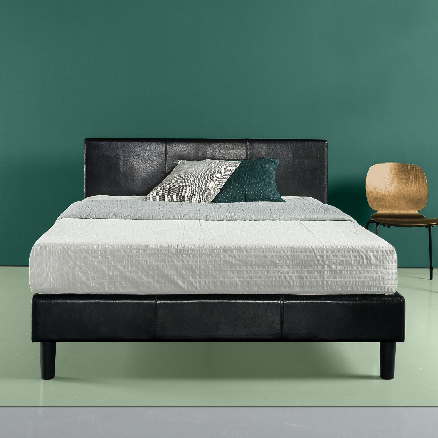 Zinus Jade Faux Leather Upholstered Platform Bed Mattress Foundation Easy Assembly Strong Wood Slat Support Black, Queen