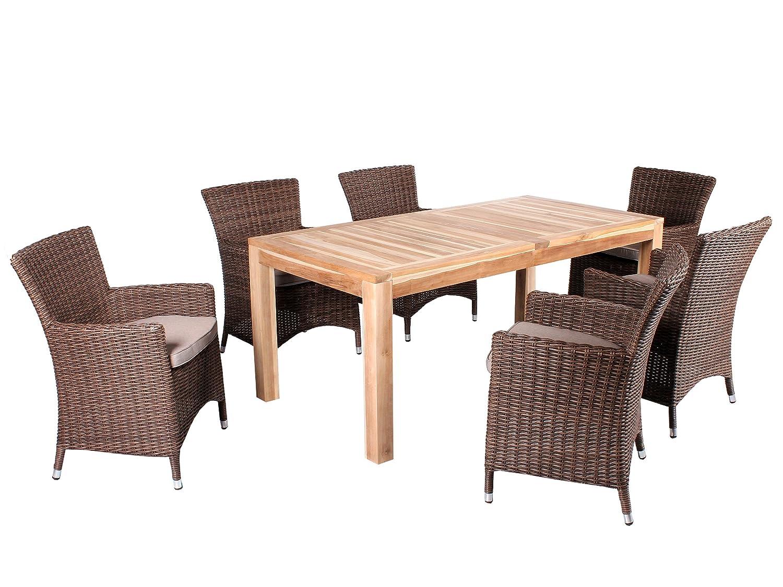 7tlg. Teak u. Polyrattan Sitzgruppe Burano Essgruppe Braun inkl. Sitzkissen, Tisch 180 cm