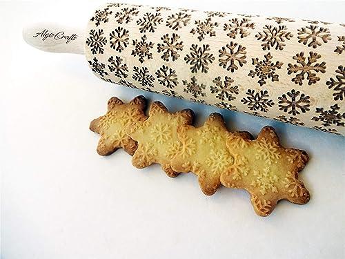 Christmas rolling pin SNOWFLAKES /&CHRISTMAS TREE small rolling pin embossing rolling pin christmas gift laser engraved small rolling pin
