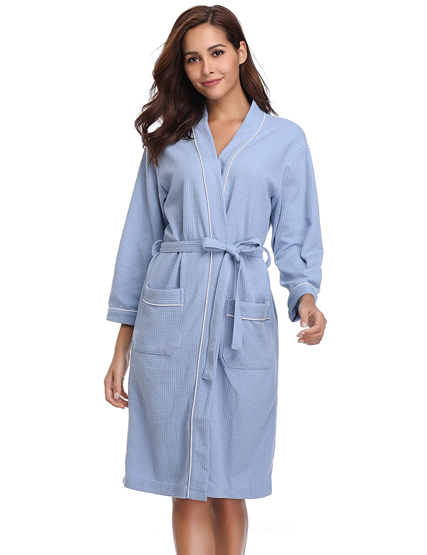 blueestyle a Vlazom Women's Kimono Robes Knit Lightweight Spa Bathrobe Waffle Cotton Robes Soft VNeck Loungewear for Home Hotel
