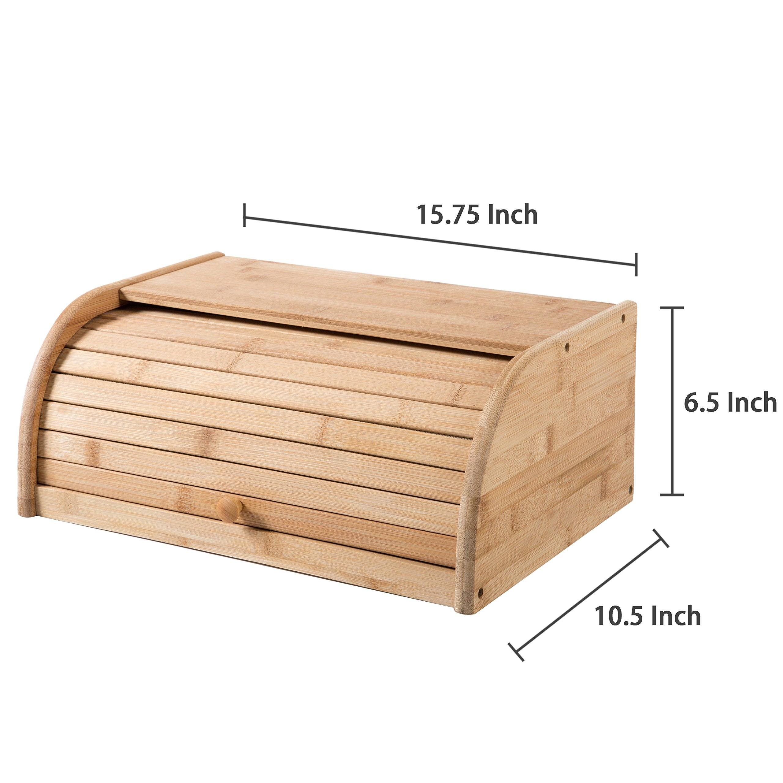 16 inch Kitchen Natural Wooden Bamboo Rolltop Bread Box Food Storage - MyGift by MyGift (Image #6)
