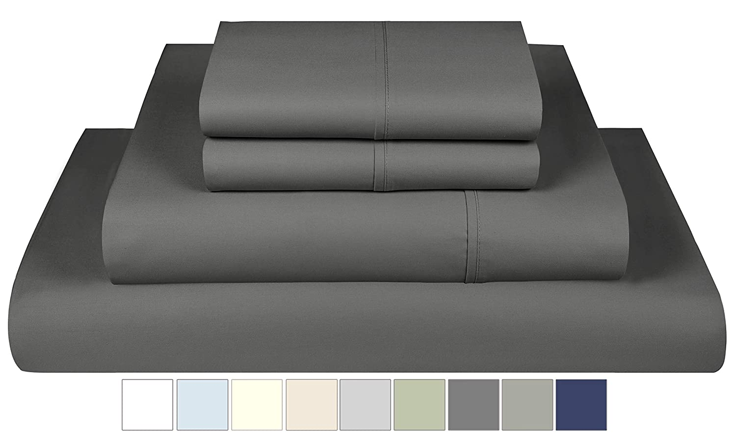 Folkstone Blue 800 Thread Count Sheets Queen Size Queen Bedding Smooth Sateen 100/% Cotton 4 Piece Bed Sheet Set with Deep Pocket