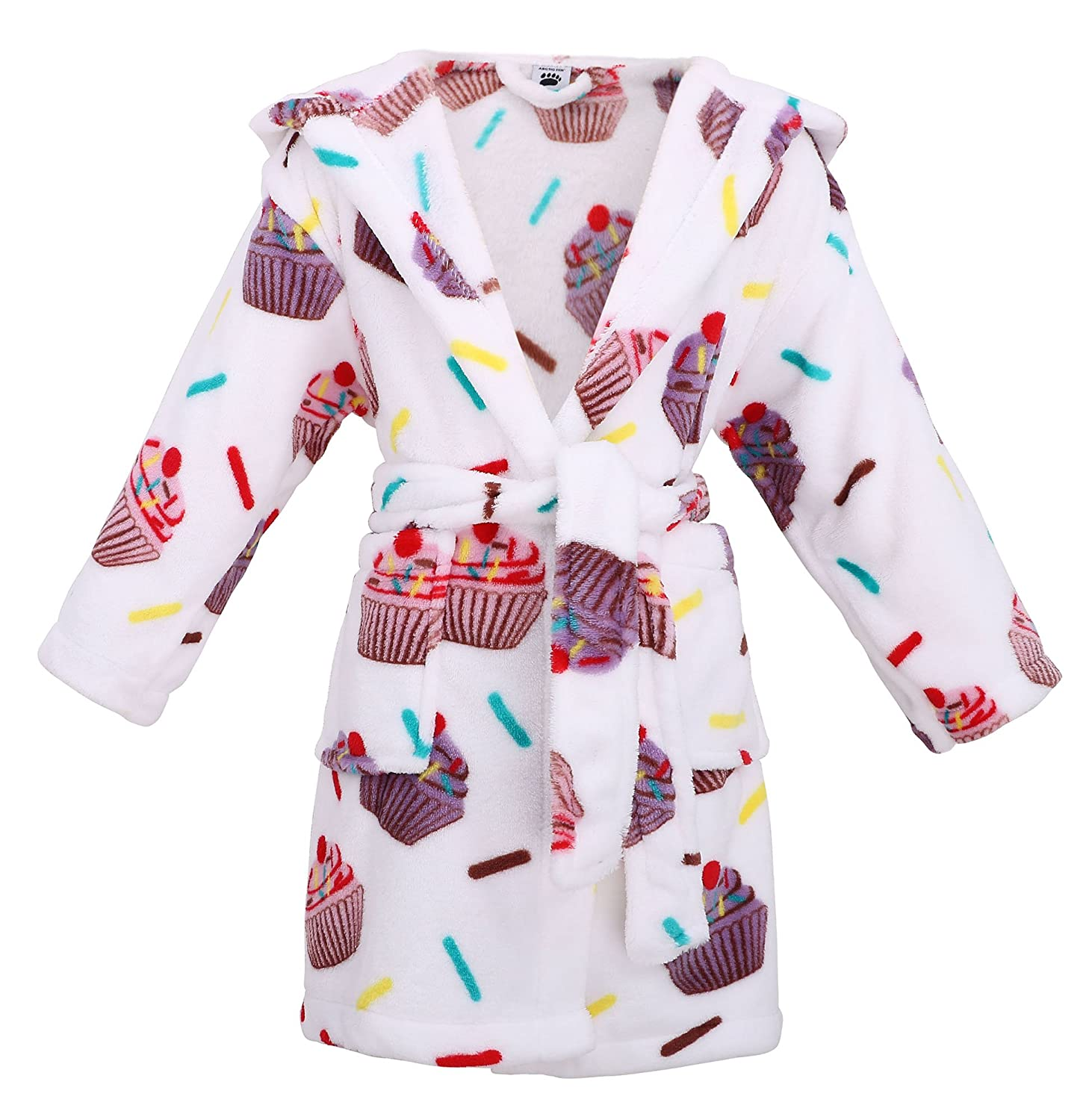 Girls Hooded Printed Flannel Fleece Bathrobe Robe with Side Pockets, Cupcakes , M