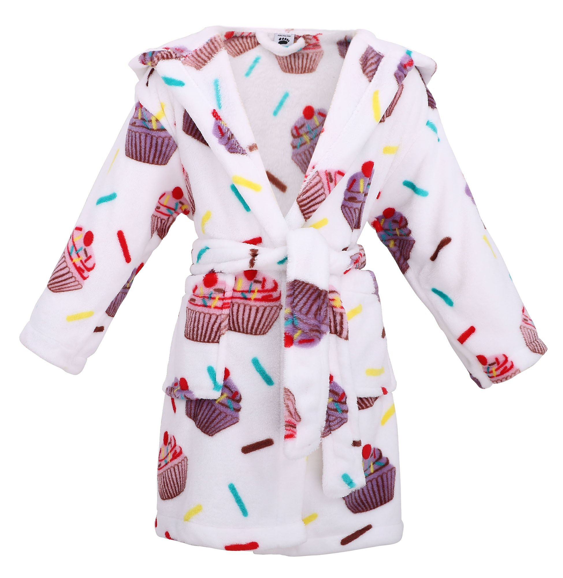 Girls Hooded Printed Flannel Fleece Bathrobe Girls Robe with Pockets,Cupcakes,M by Arctic Paw (Image #1)