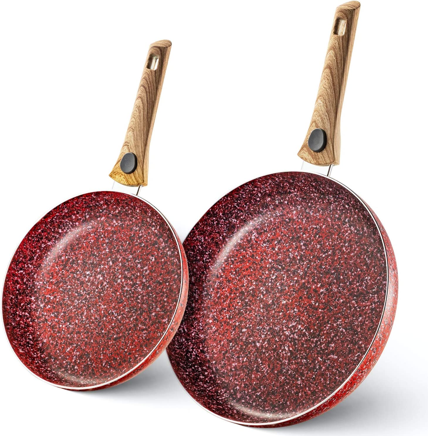 Mitbak 10 & 12 Inch Non-Stick Frying Pans (Red) | Set Of 2 Granite Coating Nonstick Skillet with REMOVABLE Heat-Resistant Wooden Handle | Premium Cooking & Kitchen Utensil | Induction Compatible