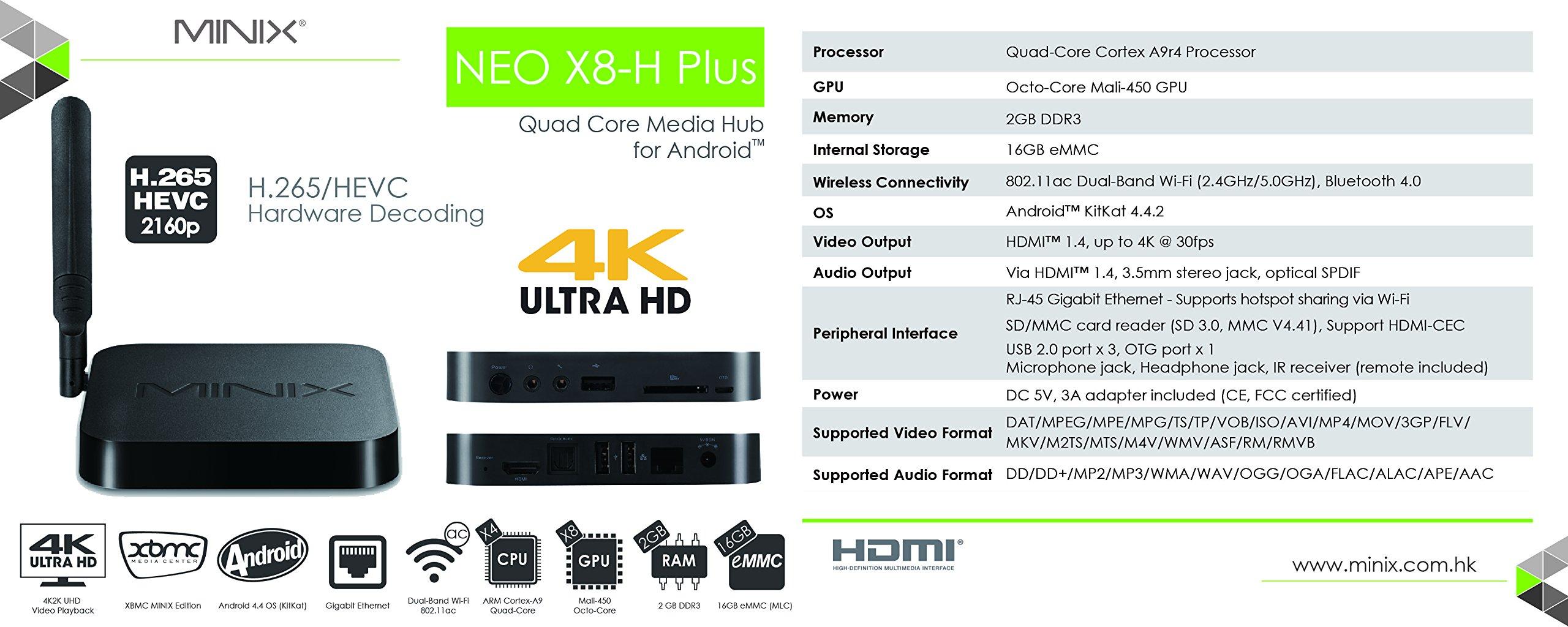 MINIX X8-H Plus Smart TV Box Mini PC & Media Streaming Player Amlogic S812-H Quad-Core Cortex-A9 Processor up to 2.0GHz Android 4.4.2 Full 2160p H.265/HEVC HDMI 2G/16G Hardware Recording by Jesurun (Image #6)