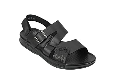 15592d4797ed Mens Real Leather Sandals Adjustable Strap   Buckle Open Front Slip On  Slippers Shoes Black Brown