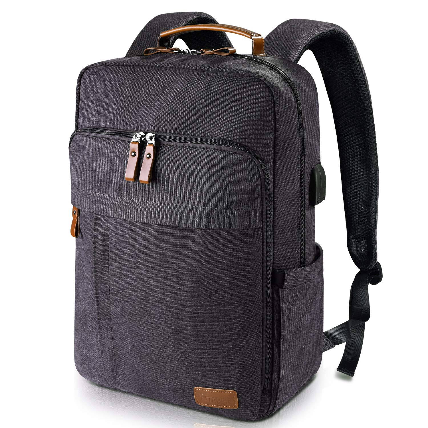 e3d785b674a3 Amazon.com: Estarer Laptop Backpack w/USB Charging Port for Men Women,  Water Resistant Canvas Backpack School Office Work Fit Most 17-17.3 Inch  Computer: ...