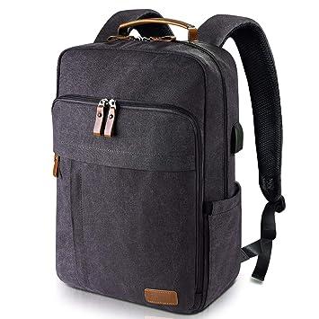 406ea5884f Estarer Sac à Dos Ordinateur Portable 15.6 Pouces en Toile Vintage Sac Homme  Business Backpack pour