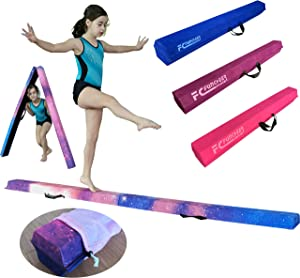 FC FUNCHEER 9FT Folding Floor Gymnastics Equipment for Kids Adults,Non Slip Rubber Base, Gymnastics Beam for Training, Practice, Physical Therapy and Professional Home Training with Carrying Bag