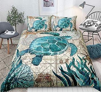 3D Sea Turtle Bedding Set Blue King for Boys Kids Girl Ocean Beach Themed 3  Pcs Duvet Cover Children Teens Retro Tortoise Comforter Cover Hawaiin ...