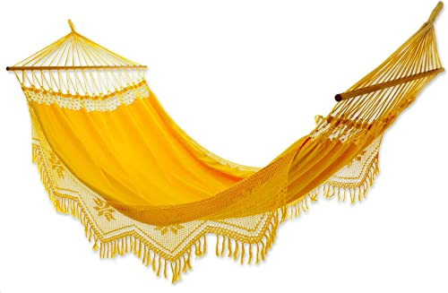 NOVICA Cotton Hammock with Spreader Bars, Single, Tropical Yellow