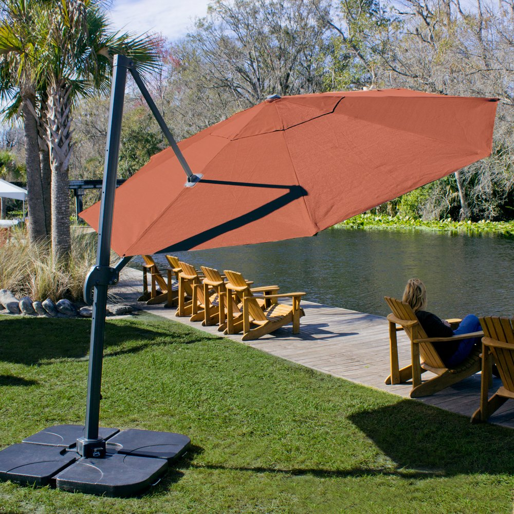led cantilever umbrellas round p red hampton bay in ft offset patio umbrella
