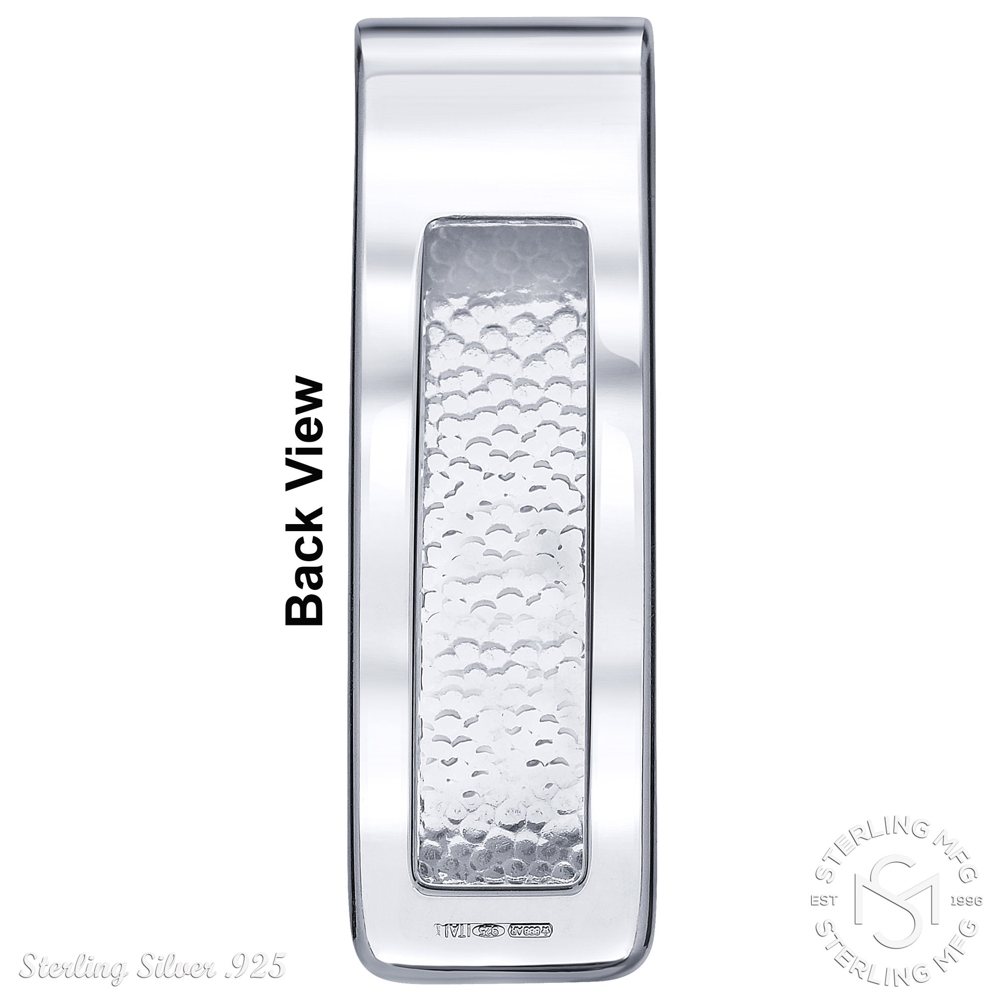 Sterling Silver .925 Money Clip Striped Design with Satin Finish Accent, Pebbled Underside. Designed and Made In Italy. By Sterling Manufacturers by Sterling Manufacturers (Image #7)