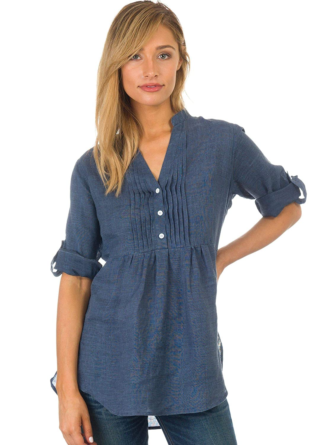 CAMIXA Womens Linen Popover Casual Chic Tunic Shirt Relaxed Blouse Top