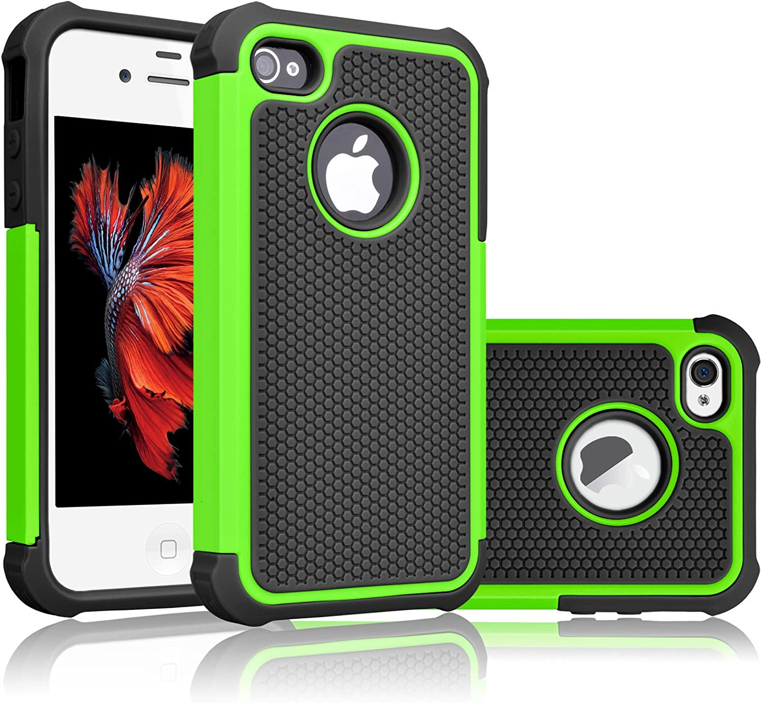 Tekcoo Compatible for iPhone 4S Case/iPhone 4 / 4G Cover, [Tmajor] Shock Absorbing Hybrid Best Impact Defender Rugged Slim Grip Bumper Cover Shell Plastic Outer & Rubber Silicone Inner [Green/Black]