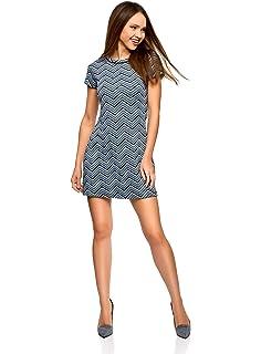 oodji Ultra Mujer Vestido de Punto con Decoración Geométrica