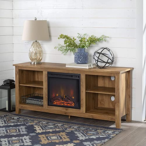 Home Accent Furnishings Lucas 58 Inch Television Stand with Fireplace Insert in Barnwood