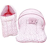 RBC Riya R Baby Cotton Mattress with Mosquito Net and Sleeping Bag, 0-6 months (Pink)